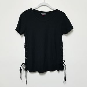 Vince Camuto Black Lace up Side Shirt XS
